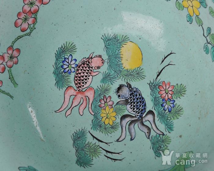 欧美回流 民国 铜胎画珐琅花鸟金鱼碗 带座图5