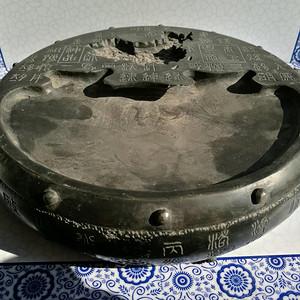 金牌 歙砚 民国,鼓形刻文 金鸡地形池 双面 龙尾砚3357