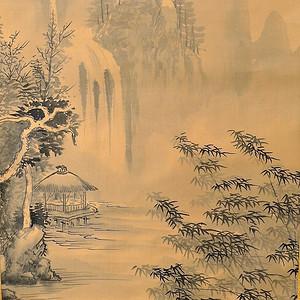 欧美回流 吟溪竹雨设色绢本手绘老画轴