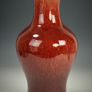 欧美回流 极美清光绪豇豆红釉观音瓶