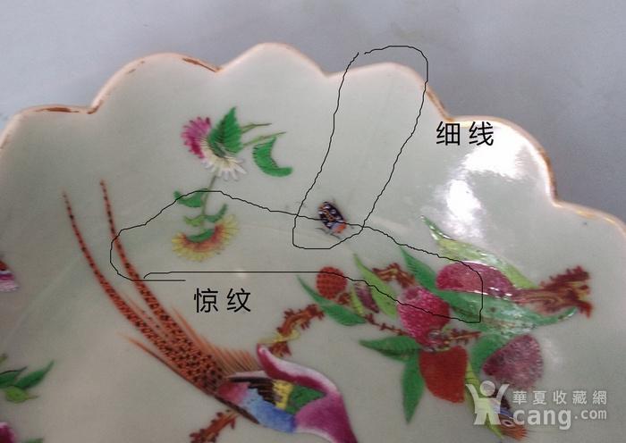 清晚期豆青粉彩花鸟草虫纹莲瓣大碗包真包老图6