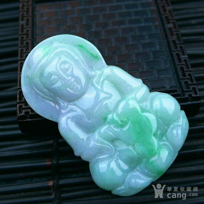 冰润带绿观音吊坠图2