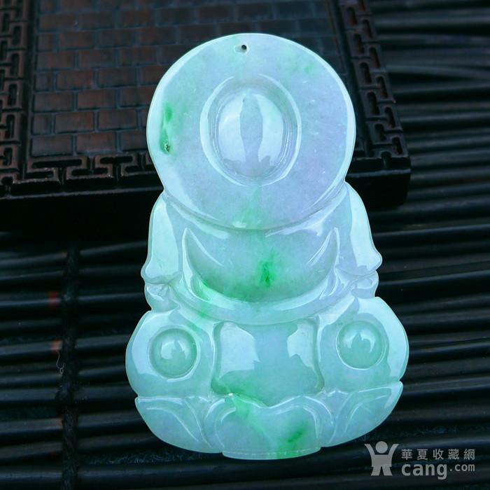 冰润带绿观音吊坠图3