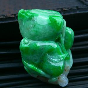 冰润满绿金枝玉叶吊坠