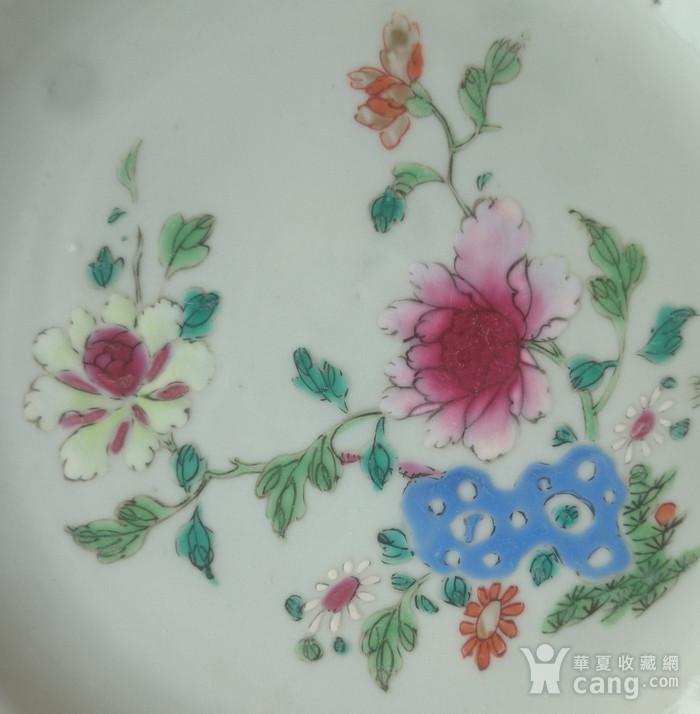 清雍正粉彩花卉牡丹纹葵口盘直径22.7公分包真图2