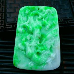 冰润绿飞龙在天吊坠