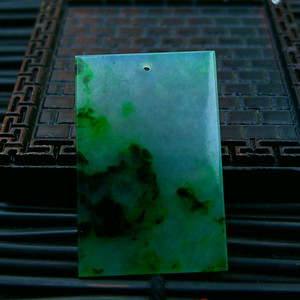 伴钻飘绿平安牌吊坠