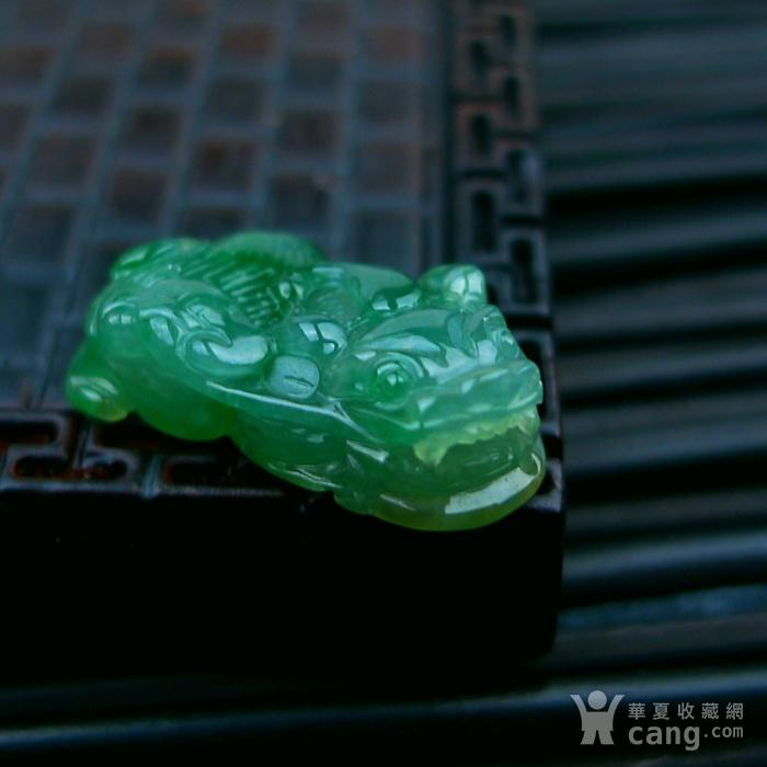 冰种满绿貔貅吊坠图1