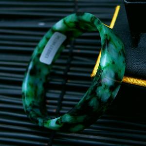 冰润满绿宽边手镯