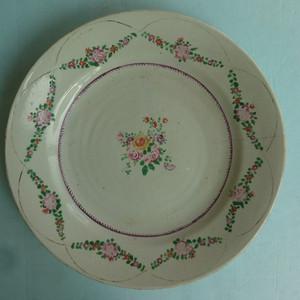 清中期粉彩花卉纹盘直径23.2公分包真包老