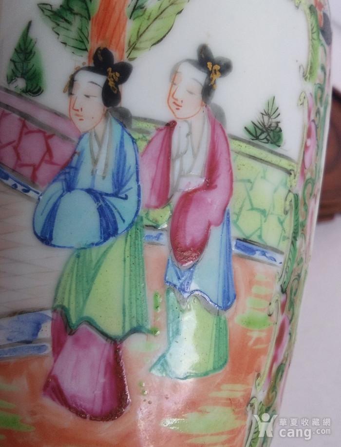清同治广彩人物双耳瓶包真包老图4