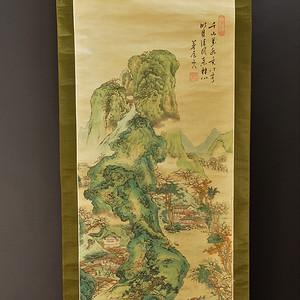欧美回流 茅屋山人精美手绘设色绢本山水老画轴