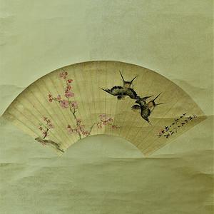 欧美回流 漂亮的手绘扇面画老掛軸