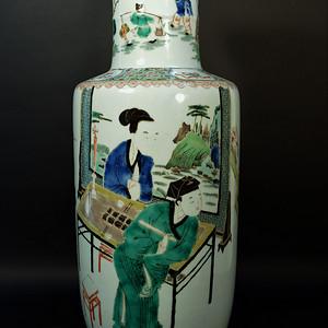 欧美回流 漂亮的清光绪五彩人物特大棒槌瓶
