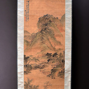 欧美回流 清初名家龚贤设色绢本手绘山水立轴
