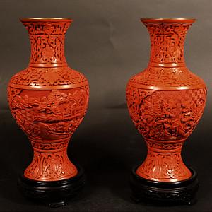 欧美回流 漂亮一对出口创汇时期铜胎雕漆瓶