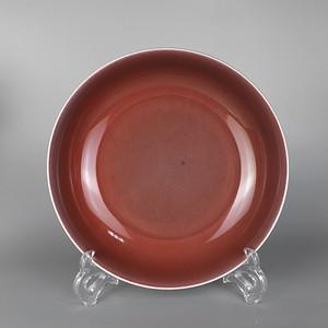 清乾隆红釉赏盘