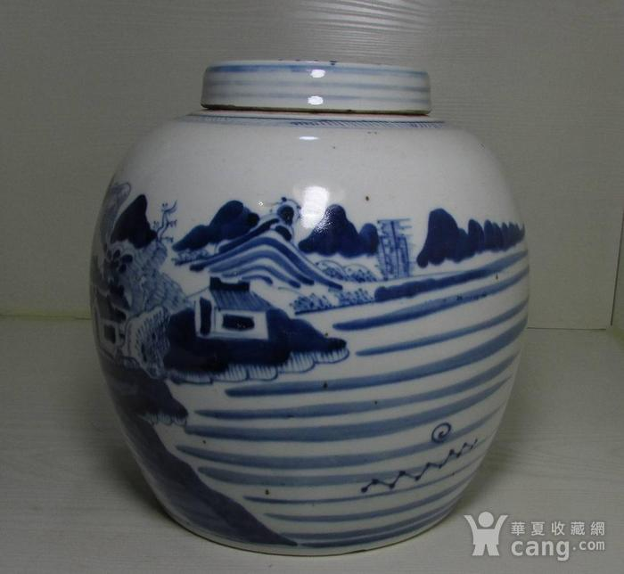 乾隆青花通景山水大罐图3
