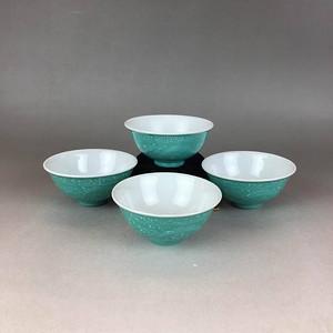九江瓷业公司 松石绿釉夔龙茶盏一组