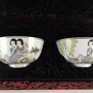 江西瓷业公司 粉彩侍女碗一对 赠送精美锦盒