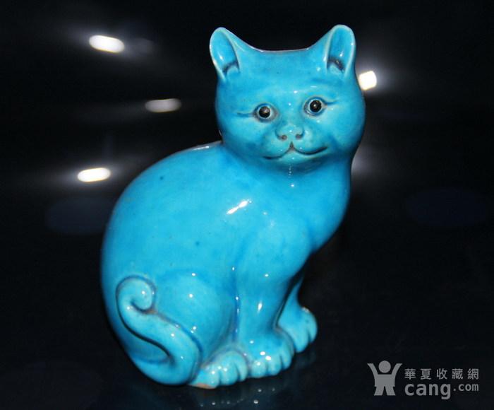解放初或文革孔雀蓝釉猫图2