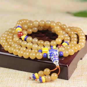 和田玉金糖色108颗圆珠项链