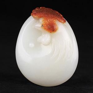 和田玉白玉籽料精雕生肖鸡冠上加冠挂件