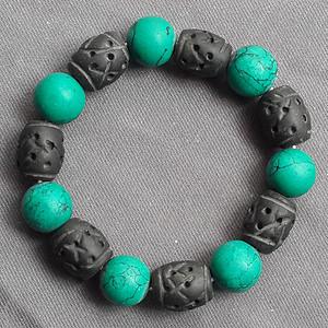 绿松石煤精组合手链