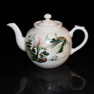 民国青绿山水茶壶