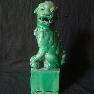 解放初绿釉狮子