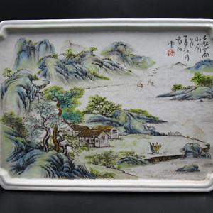 绛彩山水人物瓷盘