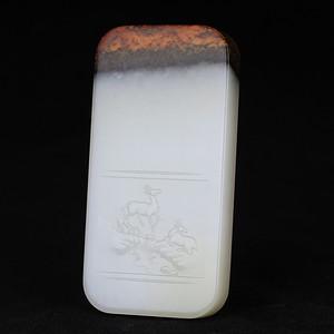 和田玉三色白玉籽料巧色精雕山水意境牌子挂件