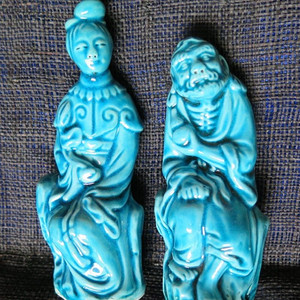 民国铁拐李何仙姑八仙蓝釉塑像