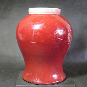 精品   清代红釉将军罐