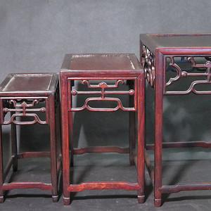 红木长方边桌一套