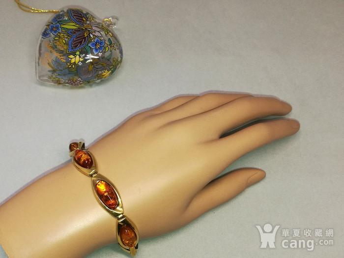 天然花琥珀彩金手链图2