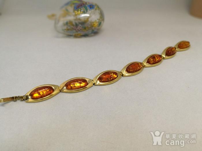 天然花琥珀彩金手链图1
