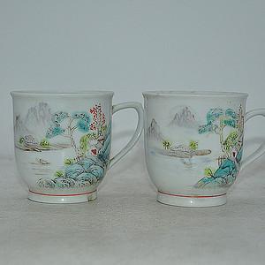 中国江西瓷茶杯两个