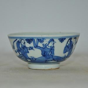 人物青花小瓷碗