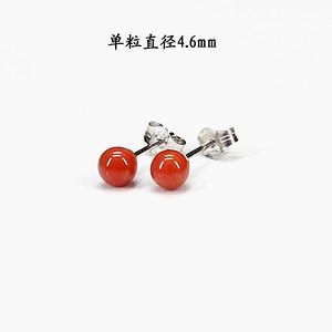 天然红珊瑚耳饰 银镶嵌5529