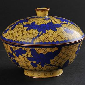 老铜胎掐丝珐琅黄地花卉纹盖碗