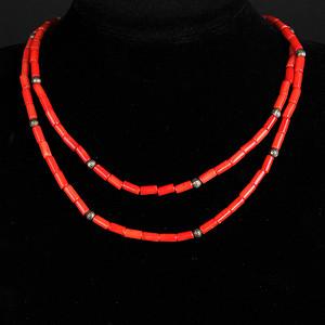 天然红珊瑚桶粒式项链