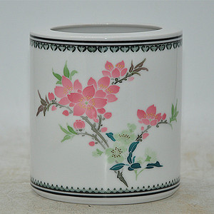 中国醴陵红官窑釉下彩笔筒