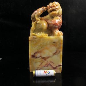 案头精品 奇纹寿山细腻老岭冻石母子兽 1.96公斤