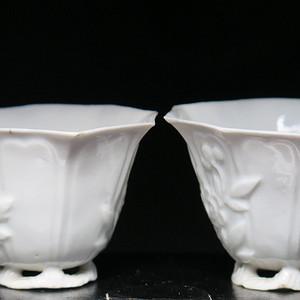 民国福寿双全德化六角杯一对