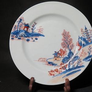 清代雍正山水风景描金彩粉大盘