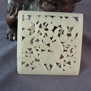和田白玉麒麟纹镂空方形大玉佩把件