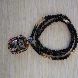 天然彩石镶嵌彩晶毛衣链坠