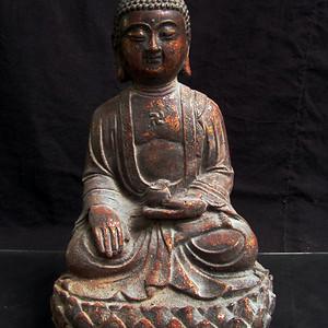 铜鎏金仰莲座佛像