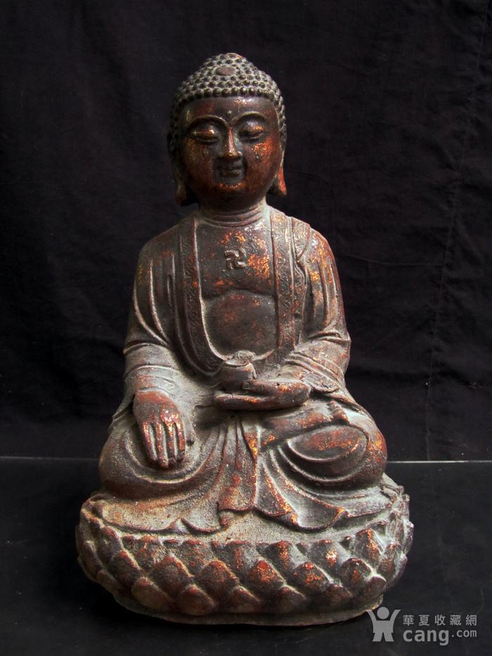 铜鎏金仰莲座佛像图1